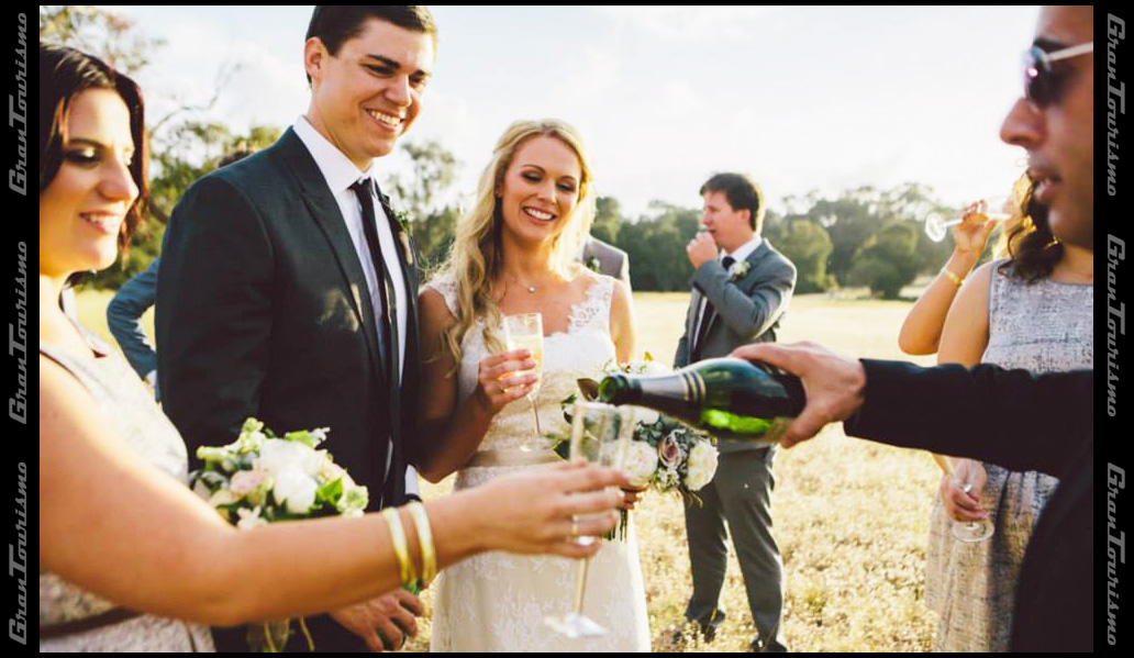 Pouring champagne during the photo session
